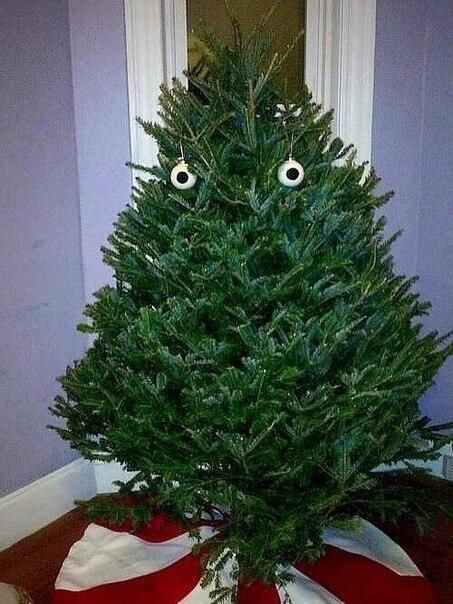 kerstboom met gezicht