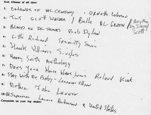 Top 10 volgens Lou Reed