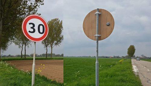verkeersbord van bamboe