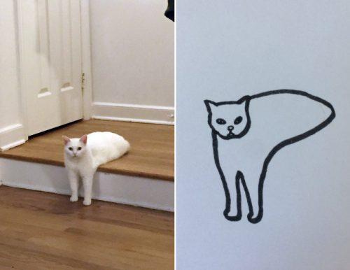 slechte getekende kat