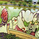 Kleurrijke rijstveld kunst in Japan