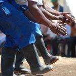 Gumboot dans van de mijnwerkers in Zuid Afrika