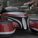 Futuristisch vliegende retro auto