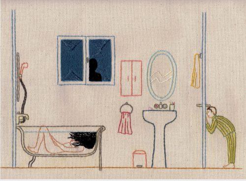 gebordeuurde badkamer