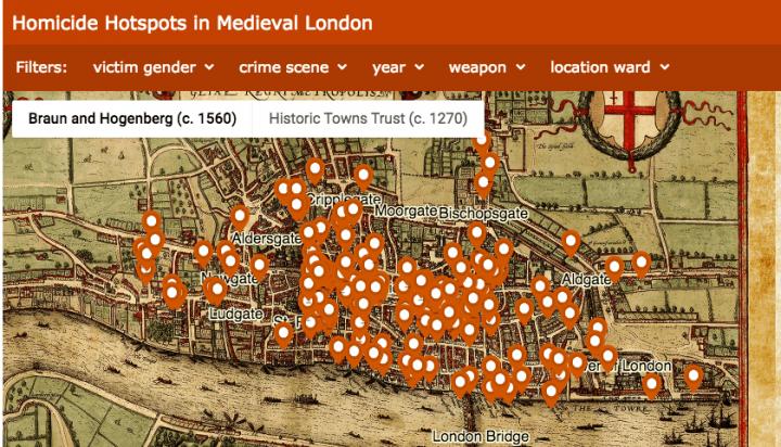 Middeleeuwse moordkaart van Londen