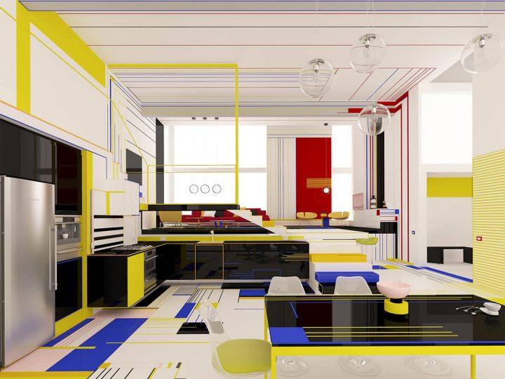Kleurrijk Piet Mondriaan interieur