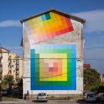 Kleurrijke geometerische muurschilderingen van Alberonero