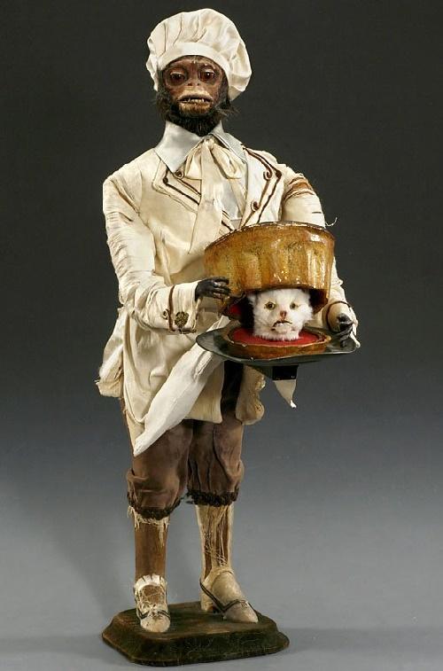 Opwindbare aap: gruwelijk kinderspeelgoed uit 1880