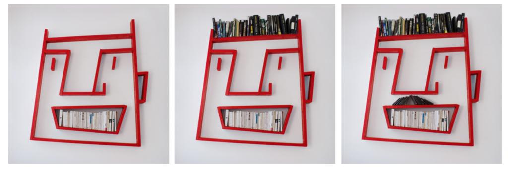 boekenkast met een menselijk gezicht