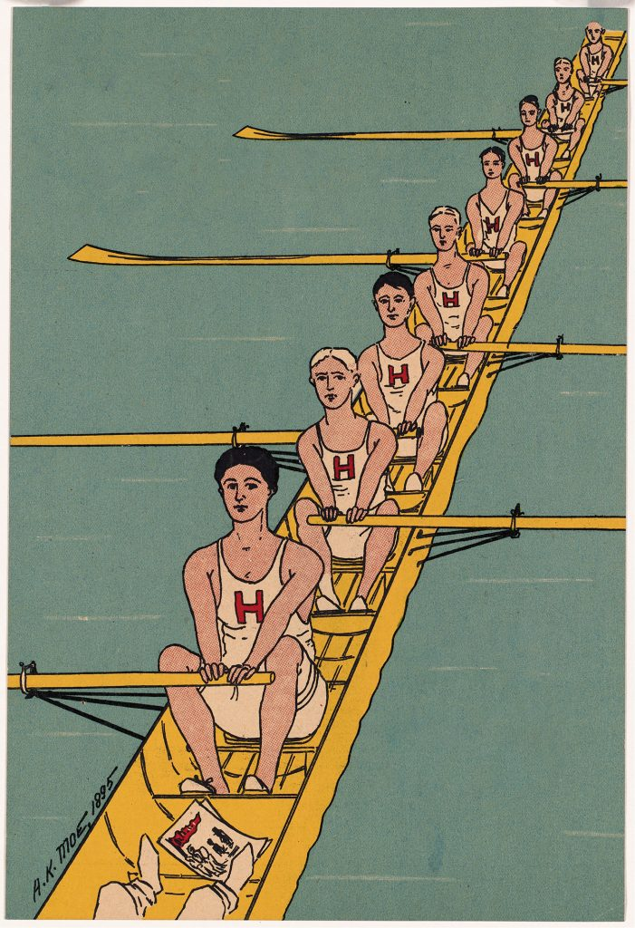 The boat of Harvard rowers on the water
