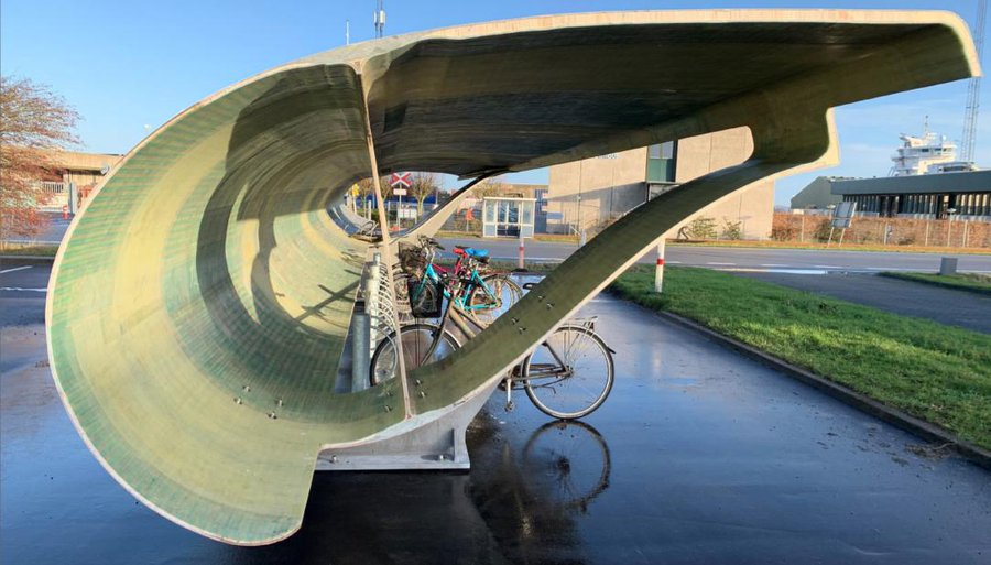 windturbine wordt fietsenstalling