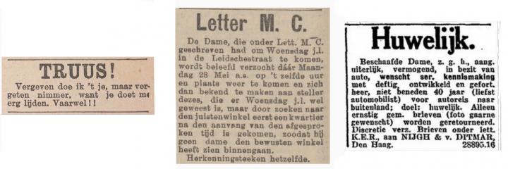 Liefde van Toen: contactadvertenties van voor 1940