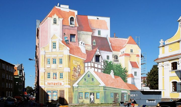 Bijzondere muurschildering in de Poolse stad Poznan